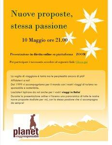 Lunedì 10 Maggio ore 21.00 Presentazione nuovi viaggi